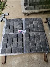 Natural Spilt Black Basalt Cobblestone on Mesh
