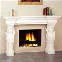 Pure White Marble Fireplace Mantel Angel Column Handcarved