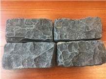 Black Basalt Cobble Pavers with Tumbled Finished