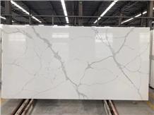 Calacatta White Quartz Stone Polished Slabs &Tiles