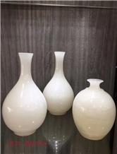 China White Onyx Polished Flower Arranging Vase