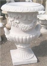 Garden Outdoor White Marble Flower Pots