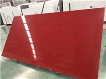 Red Artificial Stone Polished Quartz Tiles &Slabs