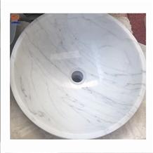 Cheap White Carrara Marble Basin for Bathroom