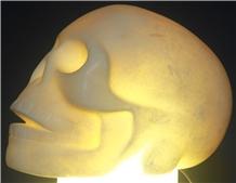 Hand-Carved Alabaster Skull Lamp White