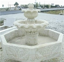 Hand-Carved White Marble Water Fountain
