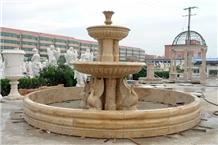 Yellow Limestone Garden Waterfall Fountain