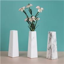 Natural White Marble Flower Vase Light Luxury