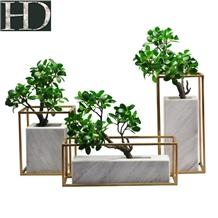 Volakas White Marble Vase with Simulation Tree