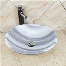 Eqvator White Marble Round Bahroom Basin Wash Sink