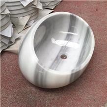 Eqvator White Round Marble Art Basin Bathroom Sink