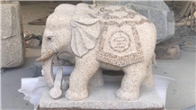 Granite Elephant Sculptures Hand Carved Carvings