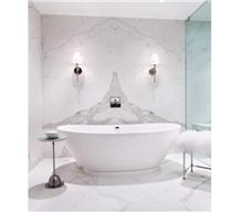 Bathroom Book Match Italian Calacatta White Marble
