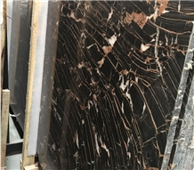 China European Network Red Vein Black Marble Slabs