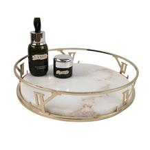 Home Luxury Round White Marble Tray Interior