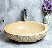 Natural Beige Stone Round Vessel Sink Wash Basins