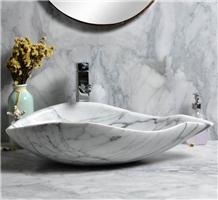 Natural Bianco Carrara White Marble Sink Washbasin