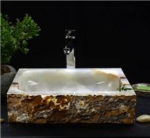 Natural White Onyx Stone Vessel Sinks Wash Basins