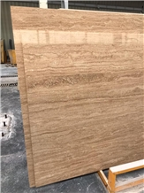 Dark Bej Travertine Slabs, Iran Brown Travertine