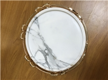 Marble Tray with Metal Holder, Calacatta