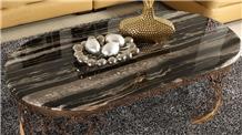 Black Silver Dragon Marble Interior Round Table