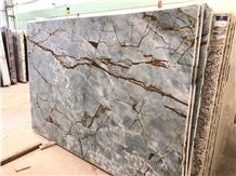 Blue Roma Quartzite Slab Kitchen Prefab Design