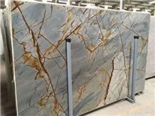 Blue Roma Quartzite Slab Luxury Stone Wall Panel