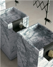 Invisible Blue Marble Pedestal Basin 5 Stars Hotel Decoration
