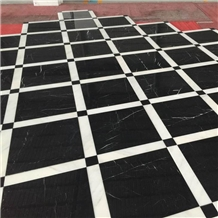 Nero Marquina Marble Floor Covering Tiles Project