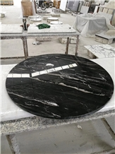 Polished Silver Dragon Marble Table Top Stone Furniture Design