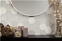 White Limestone Mix Crystal Glass Mosaic Panel
