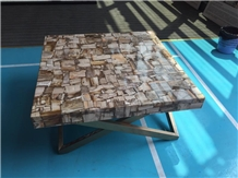 Yellow Fossil Petrified Wood Polished Reception Table