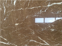 China Kozo Brown Marrone White Veins Texture Marble Slab