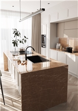 Kozo Brown Marble Tile Kitchen Splash Wall