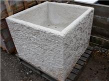 Grey Sandstone Flower Pot Machine Cut
