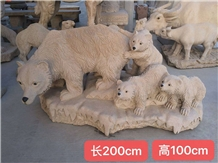 Yellow Granite Outside Garden Animal Sculptures