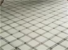 Absolute White Marble Basketweave Brick Mosaic