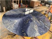 Azul Bahia Granite Round Dinner Stone Table