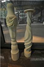 Beige Limestone Honed Balustrade Hand Carved