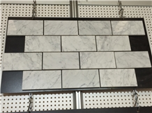 Bianco Carrara White Marble Brick Mosaic Pattern