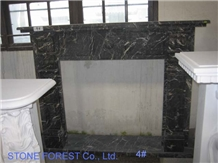 Black St. Laurent Marble Fireplace Hearth
