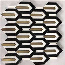 Black & White Marble Art Mosaic Panel Tile