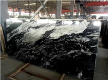 China Black Cosmic Grey Wave Granite Slab