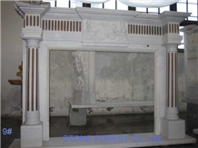 China White Marble Fireplace Mantel with Column