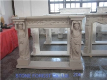 Lady Carving Design White Marble Fireplace Mantel