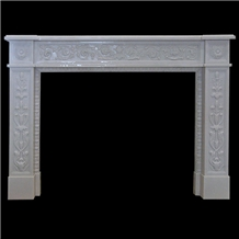 Polished Cystal White Marble Stone Fireplace