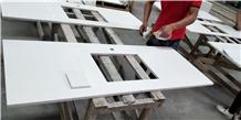 Pure White Quartz Stone Kitchen Countertops