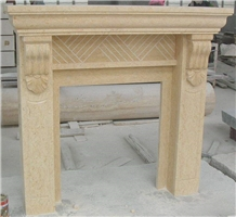 Sunny Beige Marble Fireplace Hearth with Post