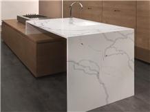 White Calacatta Quartz Countertops for Interior