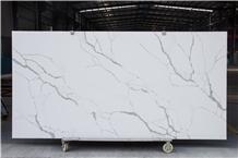 White Calacatta Quartz Stone Kitchen Slab Project